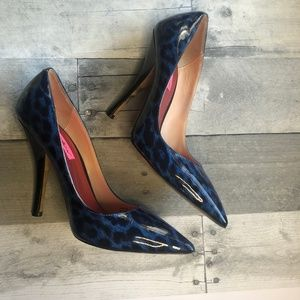 Betsey Johnson Blue Leopard Patent Leather Heels